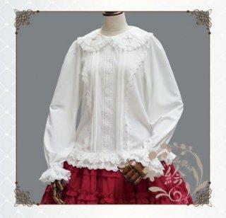 ロリータ Lolita ハート 襟 刺繍 ブラウス ホワイト 長袖 キャンディスリーブ シフォン ふんわり かわいい 甘ロリ リボン レース フリル ボタン 丸襟 大きいサイズ フェミニン