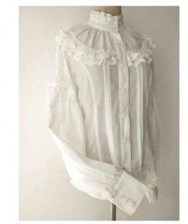 ロリータ Lolita クルーネック 袖 編み上げ ブラウス ハイネック ホワイト シフォン レース フリル クラシカル クラロリ 長袖 春物 春夏 大きいサイズ おでかけ かわいい フェミニン