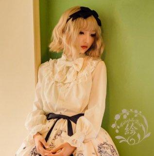 ロリータ Lolita クルーネック リボンブラウス パフスリーブ 長袖 ホワイト クラシカル エレガント 大きいサイズ かわいい 春夏 シフォン 清楚 上品 華やか ハイネック パーティ お呼ばれ
