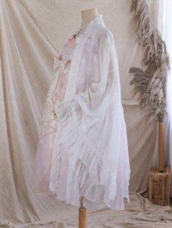 ロリータ Lolita 姫袖 フラワー カーディガン シフォン フリル レース かわいい ホワイト フリーサイズ ふんわり フレアスリーブ ボリューム袖 体型カバー 羽織り ボレロ 春夏 甘ロリ