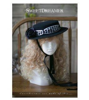 ロリータ Sweet Dreamer ダイヤ リボン 帽子 ヘッドドレス ブラック ダイヤ柄リボン 薔薇 お花 ローズ バラ モチーフ おしゃれ フリーサイズ 通年 ファッション雑貨 カンカン帽