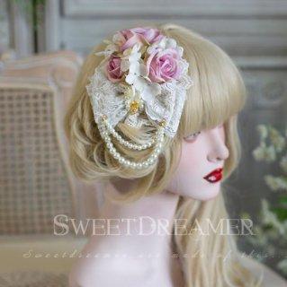 ロリータ  Sweet Dreamer ローズ パール チャーム 2WAY アクセサリー 2色 ホワイト ピンク レース フラワー リボン クラシカル クラロリ ヘッドドレス 姫ロリ Lolita