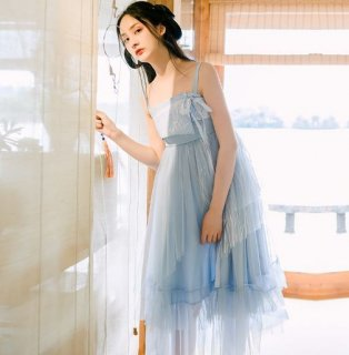レディース キャミワンピース シフォン リボン ストライプ 花柄 ロング チュール ランダムヘム ワンピ 春夏 フェアリー ふんわり 大きいサイズ サイズ豊富 ブルー 妖精 ドレス おでかけ フレア