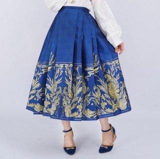ロリータ 鳳凰 スカート 2色 ロング ミモレ丈 ひざ下丈 華ロリ グリーン ブルー プリーツ 刺しゅう かわいい 花柄 フラワー おしゃれ 通年 春夏 きれいめ 上品 フェミニン Aライン
