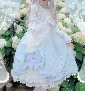 ロリータ ハート ブーケ ジャンスカ 2色 春夏 ブルー ブラック 花柄 フラワー ミディアム ひざ丈 フレア レース ハート かわいい キュート 甘ロリ ドレス おでかけ Lolita