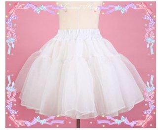 ロリータ Diamond Honey シフォン パニエ インナースカート ホワイト 通年 ショート丈 ミニスカート かわいい ふんわり ふわふわ フリーサイズ おしゃれ 着回し 万能 Lolita