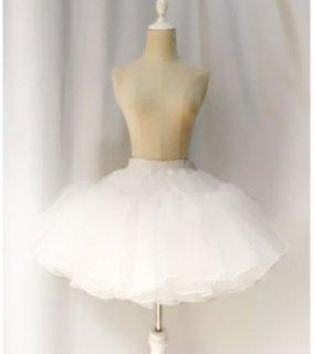 ロリータ Diamond Honey オーガンジー パニエ インナースカート ホワイト 通年 ショート丈 ミニスカート シフォン かわいい ふんわり ふわふわ フリーサイズ おしゃれ Lolita