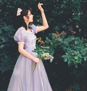 レディース ドレスワンピース 半袖 パープル レースアップ ロング フレア お姫様 プリンセス かわいい 上品 エレガント フェミニン 華やか 大きいサイズ サイズ豊富 結婚式 パーティ 二次会 おで