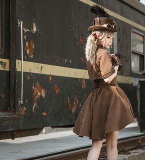 ロリータファッション steampunk ハイウエストスカート アシンメトリー ゴスロリ パンク スチームパンク レースアップ 編み上げ 無地 パンク ミニ丈 ショート丈 膝上