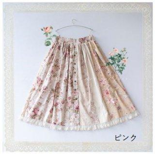 ロリータファッション 小花柄 ロングスカート プリント フリル スカート のみ 6色 小花柄 花柄 お花 花柄 お花 森ガール 膝丈 ひざ丈 ミディアム レース 綿 コットン かわいい