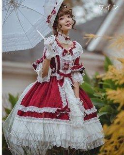 ロリータ 5分袖 姫袖 ロココ ワンピース 姫ロリ クラシカルロリータ クラロリ レースアップ 編み上げ リボン フリル たっぷりフリル