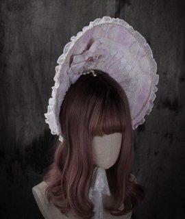 ロリータ ボンネット 2色 甘ロリ 帽子 HinanaQueena フリーサイズ リボン ビジュー レース 春夏 エレガント ガーリー ピンク ネイビー かわいい フェミニン おしゃれ