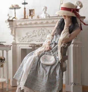 ロリータ 小花柄 ノースリーブ ワンピース 姫ロリ フリル ワンピース ジャンパースカート のみ 3色 小花柄 花柄 お花 花柄 お花 レトロ 古