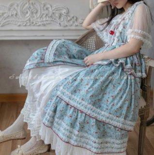 ロリータファッション Sweet Dreamer Vintage 姫ロリ クラシカルロリータ クラロリ リボン フリル ブラウス +スカート 小花柄 花柄 お花 花柄 お花 お嬢様