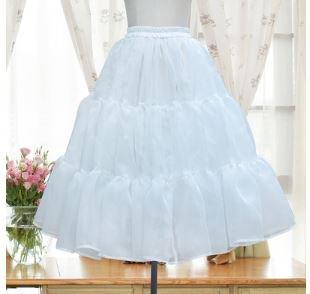 ロリータ ファッション フリル パニエ インナー アンダースカート のみ 2色 お嬢様 ミディアム丈 膝丈 かわいい ゆめかわ ゆる