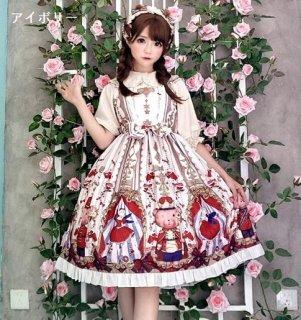 ロリータワンピース ロリータドレス ロリータファッション ゴスロリファッション ゴスロリ 甘ロリ 姫ロリ リボン フリル たっぷりフリル ジャンパースカート のみ 3色 小花柄 花柄 お花 くまさん