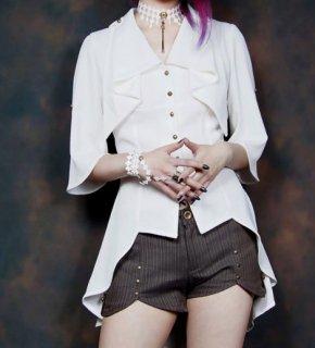 steampunk ロリータファッション ゴスロリファッション ゴスロリ パンク スチームパンク ブラウス 無地 フリル 五分袖 シフォン パンク かわいい ガーリー 大人可愛い クール フェミニン
