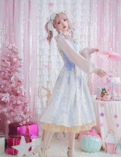 ロリータファッション ゴスロリファッション ゴスロリ 甘ロリ 姫ロリ ジャンパースカート 小花柄 花柄 お花 花柄 お花 パステルカラー ジェラートカラー マカロンカラー レースアップ 編み上げ