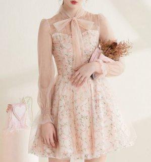セミロリータ ドレス ワンピース ピンク ミニ フレア 花柄 小花柄 フェアリー 長袖 透け感 フェミニン かわいい 大人 上品 エレガント 華やか 結婚式 パーティ お呼ばれ リボン レディースファ