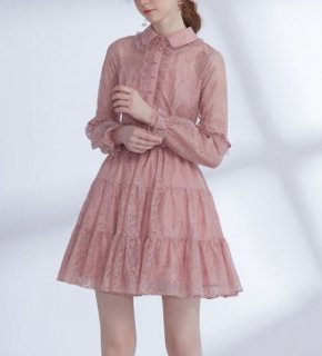 セミロリータ ワンピース ドレス ミニ ショート丈 レース チュール ピンク 大きいサイズ サイズ豊富 シャツワンピ 襟付き パール ビジュー フレア かわいい キュート パーティ お呼ばれ デート