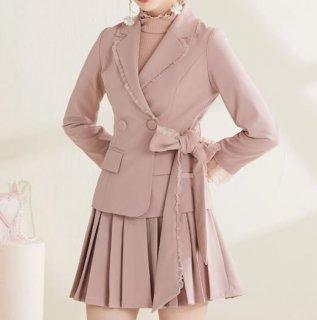 セミロリータ セットアップ ジャケット スカート 2点セット ピンク リボン プリーツ ミニスカート ショート丈 長袖 かわいい レトロ 上品 クラシカル おしゃれ ガーリー 大きいサイズ サイズ豊富
