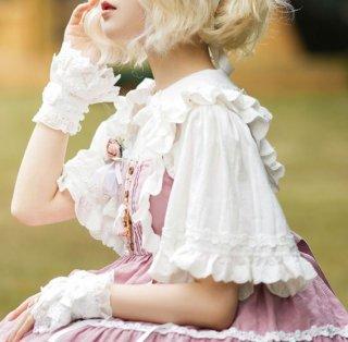 NyaNya ロリータ ブラウス 2種類 ホワイト ドット ストライプ 丸襟 フリル 半袖 フレア袖 姫袖 甘ロリ 姫ロリ クラロリ かわいい 華やか 大きいサイズ 人気 キュート ガーリー