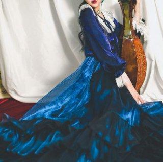 セミロリータ スカート ロング ティアード フリル フレア サーキュラースカート ウエストゴム ブルー ベロア 秋冬 デート おでかけ 上品 フェミニン ふんわり パーティ お呼ばれ レディースファッ
