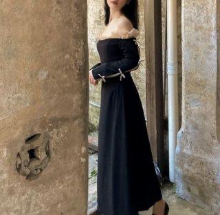 セミロリータ ドレス ワンピース ブラック 無地 オフショルダー デコルテ 華やか エレガント ロング マキシ 長袖 フリル スクエアネック フレア おしゃれ 大きいサイズ サイズ豊富 お呼ばれ デー