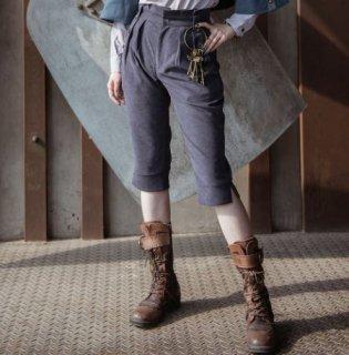 【納期2か月】ロリータ ハーフパンツ steampunk スチームパンク グレー 七分丈 カギ付き 無地 パンク かっこいい クール おしゃれ 大きいサイズ サイズ豊富 人気 撮影 おでかけ パーティ