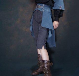 【納期2か月】ロリータ スカート steampunk スチームパンク ネイビー アシメ フレア 無地 パンク かっこいい クール おしゃれ 大きいサイズ サイズ豊富 人気 撮影 おでかけ パーティ イ