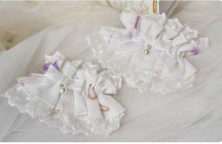 ロリータ カフス 3色 NyaNya 2個セット ヘッドドレス 花柄 プリント ハート チャーム かわいい フリーサイズ 雑貨 小物 アクセサリー 通年 甘ロリ 姫ロリ クラロリ フェミニン