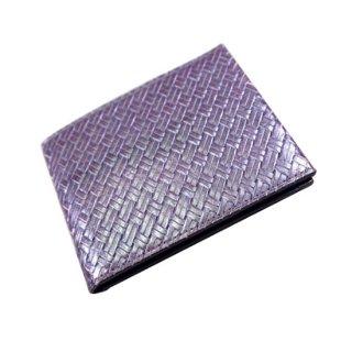 二つ折り財布 アジロ編みグレインKAWAORIGAMIカードウォレット 濃茶/青