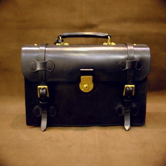 イングリッシュブライドルレザーバッグ ショルダーベルト付き ブラック