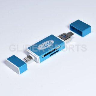 【送料無料】iPhone用カードリーダー 青 MicroSD/SDカード Type-A USB MicroUSB対応 iOS/Android/PC用(4571499369955).cp