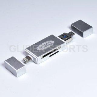 【送料無料】iPhone用カードリーダー 銀 MicroSD/SDカード Type-A USB MicroUSB対応 iOS/Android/PC用(4571499369979).cp