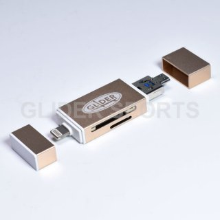 【送料無料】iPhone用カードリーダー 金 MicroSD/SDカード Type-A USB MicroUSB対応 iOS/Android/PC用(4571499369962).cp