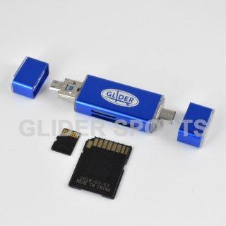 【送料無料】カードリーダー 青 MicroSD/SDカード Type-C&A USB MicroUSB対応 カメラ/Android/PC用(4571499369849).cp
