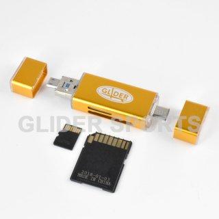 【送料無料】カードリーダー 金 MicroSD/SDカード Type-C&A USB MicroUSB対応 カメラ/Android/PC用(4571499369832).cp