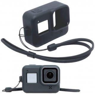 GoPro(ゴープロ)用 HERO8Black対応 アクセサリー シリコンケース 黒 シリコンカバー ストラップ付き GLD3907MJ09