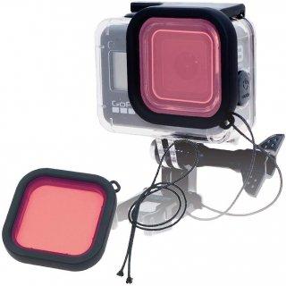 HERO8Black 対応 水中用フィルター ピンク レンズフィルター 当社製防水ハウジング対応 防水ケース用 ダイビングフィルター 海中 GLD3945MJ10