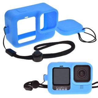 GoPro(ゴープロ)用 HERO9Black対応 アクセサリー シリコンケース セット 青 シリコンカバー レンズカバー・ストラップ付き GLD4942MJ106BL