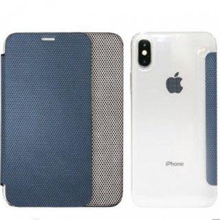 【iPhone XR】背面クリア手帳型ケース Metallic シルバー(メタリック)