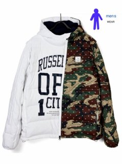 【Russeluno】2WAY DOWN JACKET(PATTERN)【WHITE】