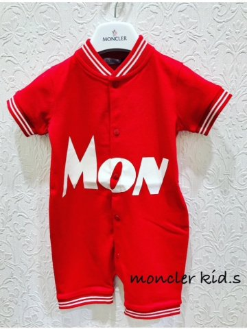 【MONCLER KIDS】ストレッチピケロンパース【RED】