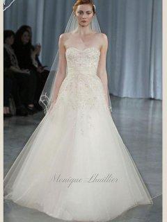 【Import Used 65%OFF】 Monique Lhuillier (モニーク・ルイリエ アイボリービーズウェディングドレス) 7号