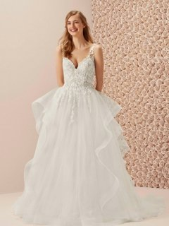 <img class='new_mark_img1' src='https://img.shop-pro.jp/img/new/icons38.gif' style='border:none;display:inline;margin:0px;padding:0px;width:auto;' />【Used 35%OFF】 Pronovias MAREA ROMANTIC(プロノビアス Aラインドレス)US2