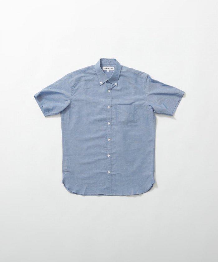 綿混ハードマンズリネン ボタンダウンシャツ 半袖