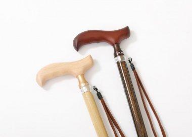 木の皮貼スリムネック伸縮ステッキ
