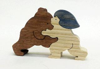 すもうをとるクマと金太郎(小)  KK211