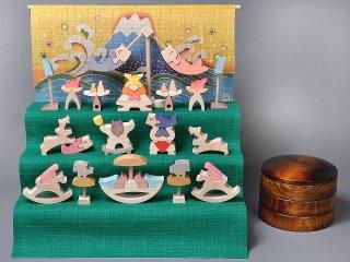 小黒三郎 組み木の五月人形 円武者三段飾り (富士) KK134